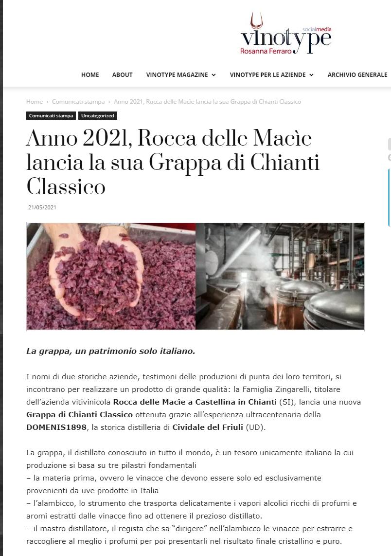 2021 maggio 21: Vinotype.it – Anno 2021, Rocca delle Macìe lancia la sua Grappa di Chianti Classico