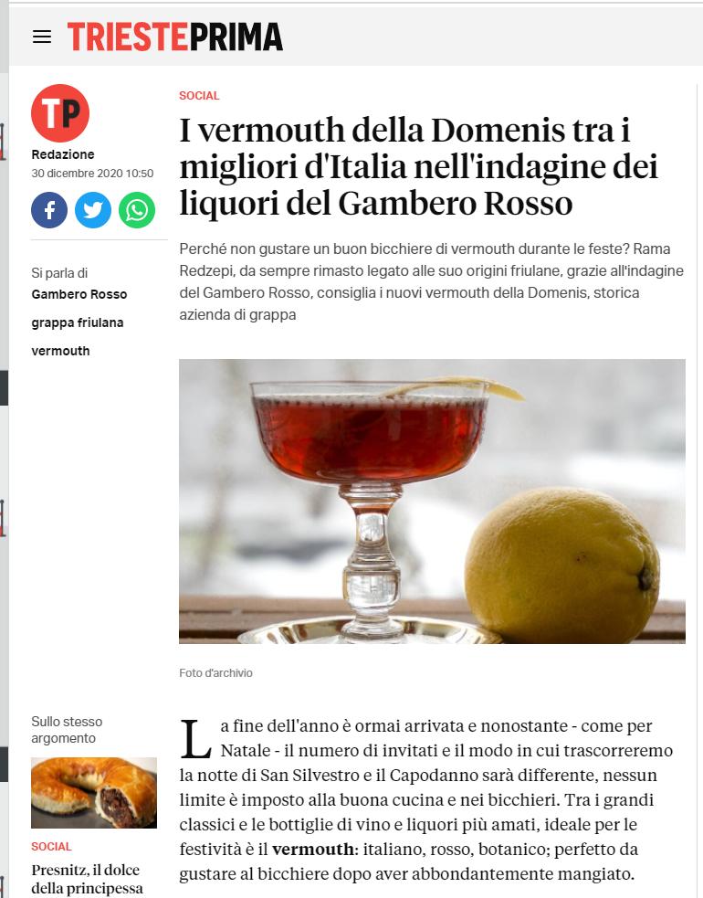 2020 dicembre 30: TriestePrima.it – I vermouth della Domenis tra i migliori d'Italia nell'indagine dei liquori del Gambero Rosso