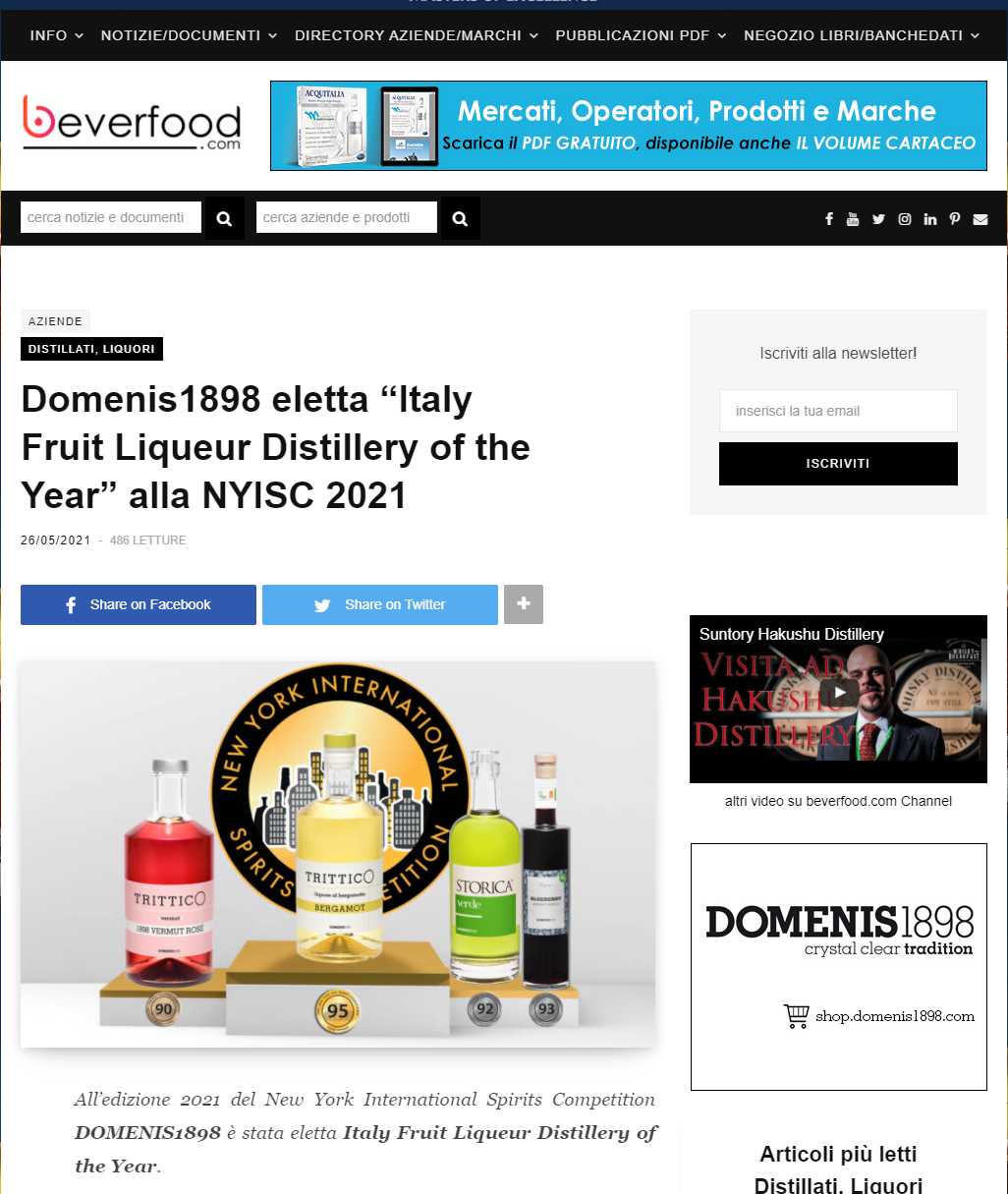 """2021 maggio 26: Beverfood.com – DOMENIS1898 eletta """"Italy Fruit Liqueur Distillery of the Year"""" alla NYISC 2021"""