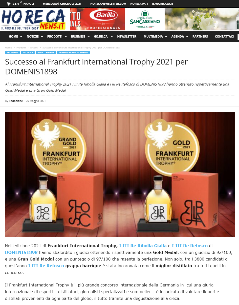 2021 maggio 26: Horecanews.it – Successo al Frankfurt International Trophy 2021 per DOMENIS1898