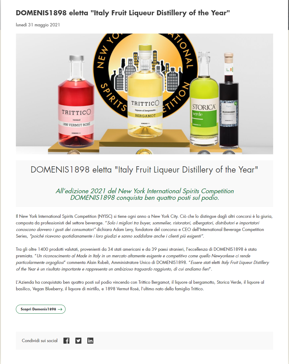 """2021 maggio 31: Agrifoodfvg.it – DOMENIS1898 eletta """"Italy Fruit Liqueur Distillery of the Year"""""""