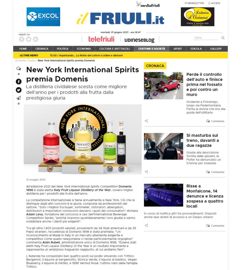 2021 maggio 31: ilfriuli.it – New York International Spirits premia Domenis