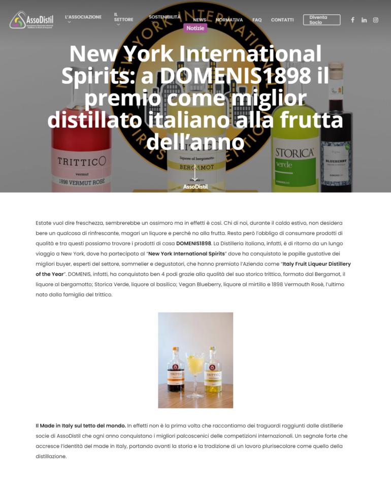 2021 giugno 03: AssoDistil.it – New York International Spirits: a DOMENIS1898 il premio come miglior distillato italiano alla frutta dell'anno