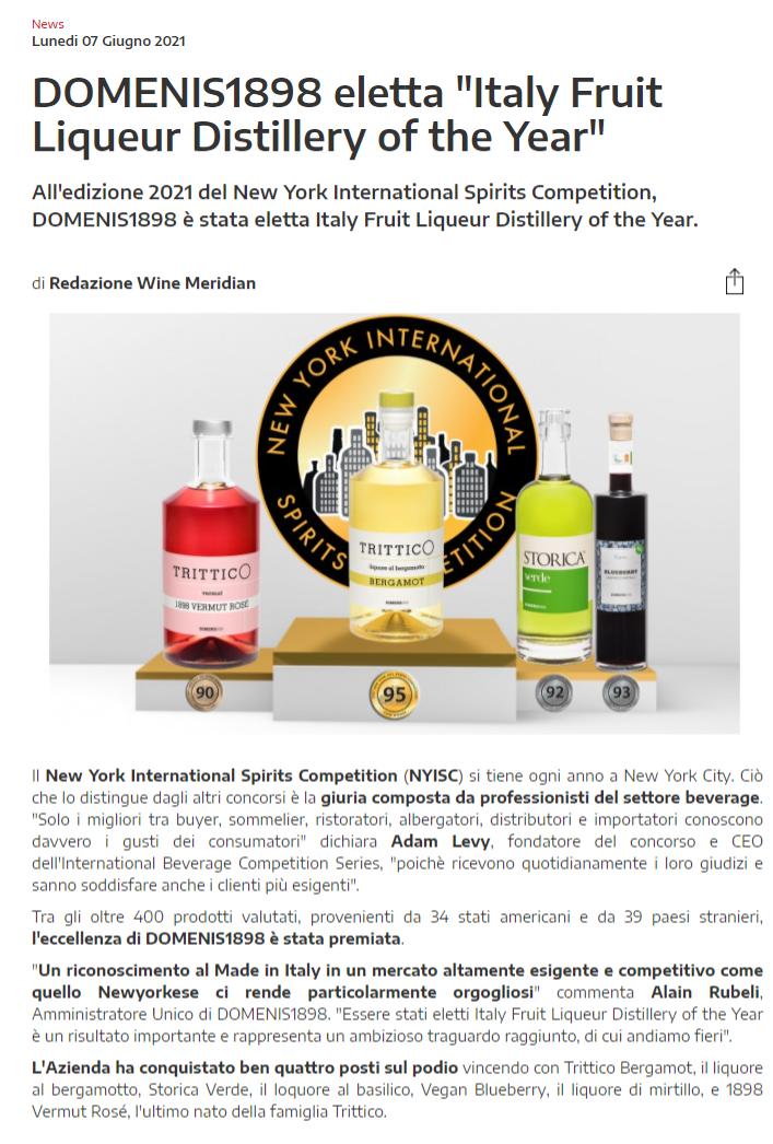 "2021 giugno 07: WineMeridian.com – DOMENIS1898 eletta ""Italy Fruit Liqueur Distillery of the Year"""