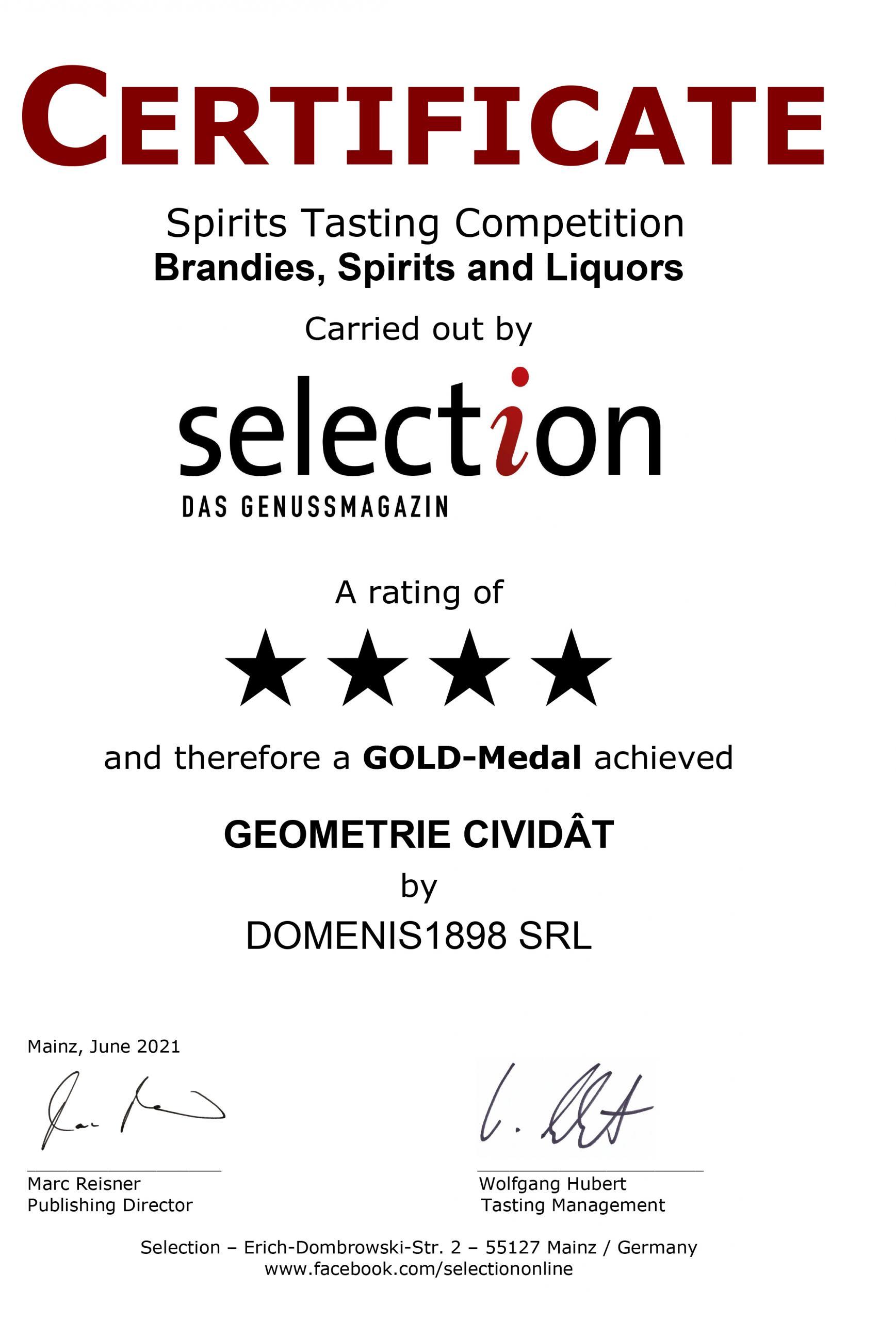 Selection aus Genussmagazin 2021 – Gold Medal – Geometrie Cividât