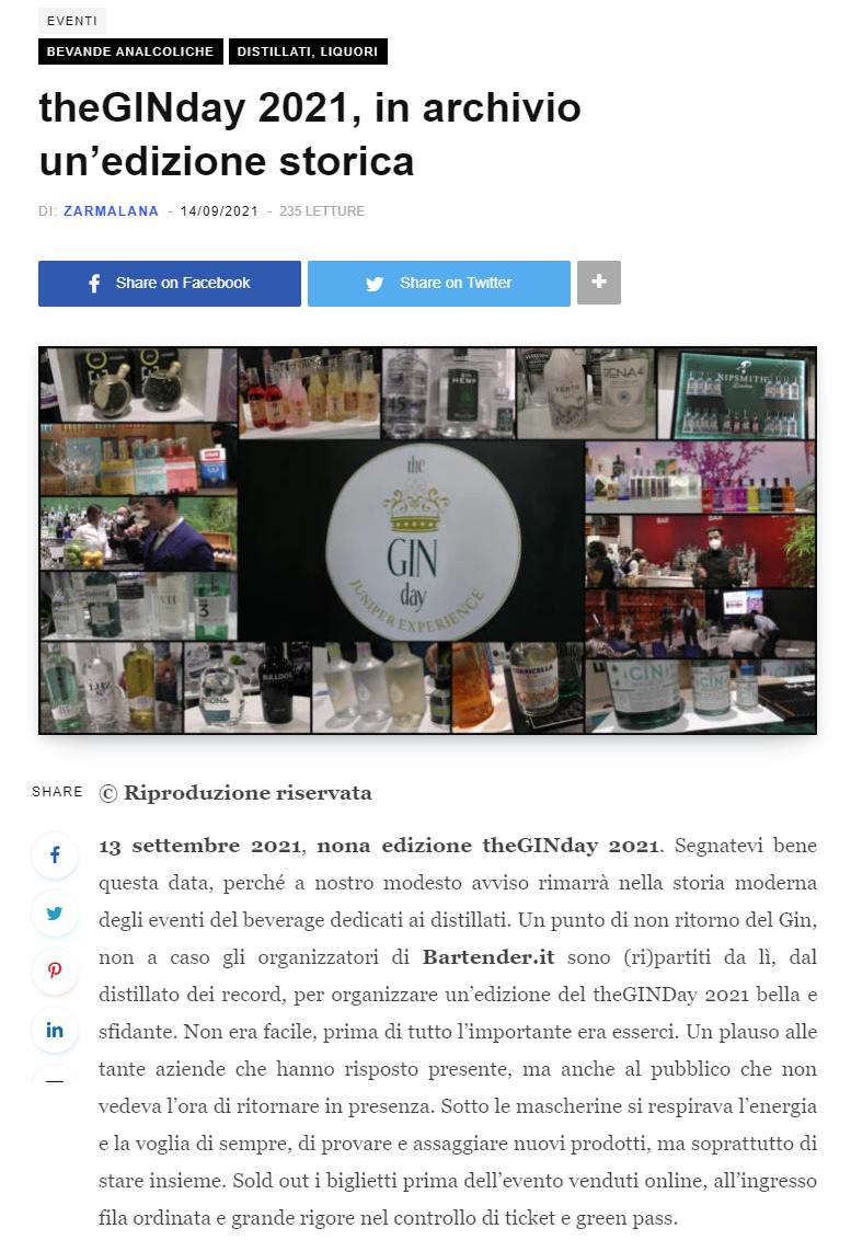 2021 settembre 14: Beverfood.com – theGINday 2021, in archivio un'edizione storica