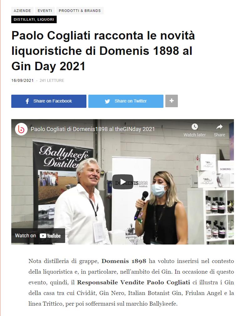 2021 settembre 16: Beverfood.com – Paolo Cogliati racconta le novità liquoristiche di DOMENIS1898 al Gin Day 2021